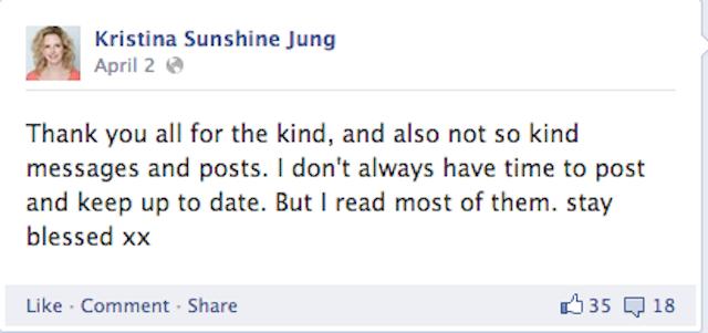 Facebook post of kristina sunshine jung