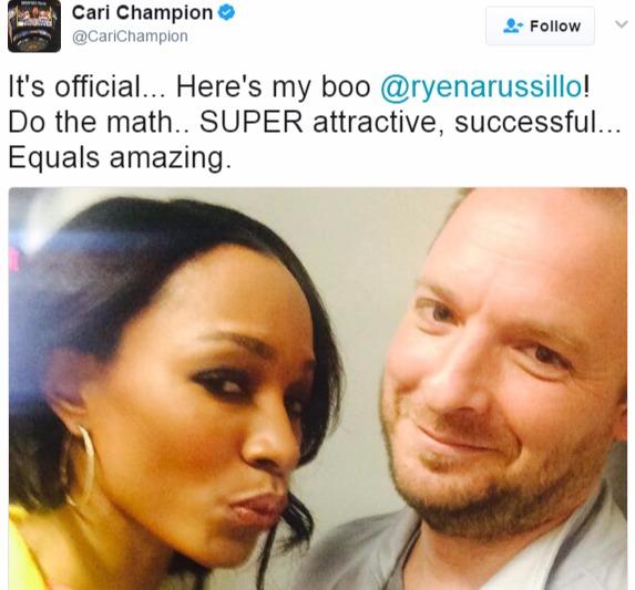 Cari tweeting about Ryen calling him as her boo.