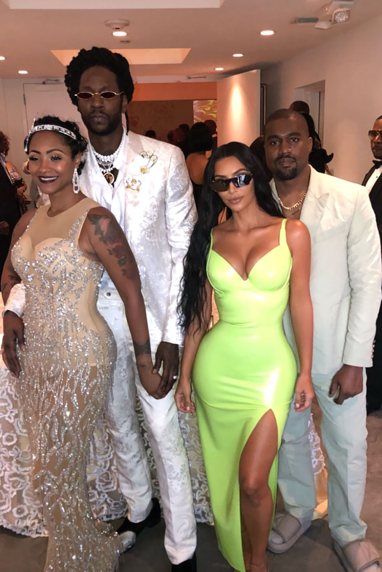 Kim and Kanya with 2 Chainz and Kesha
