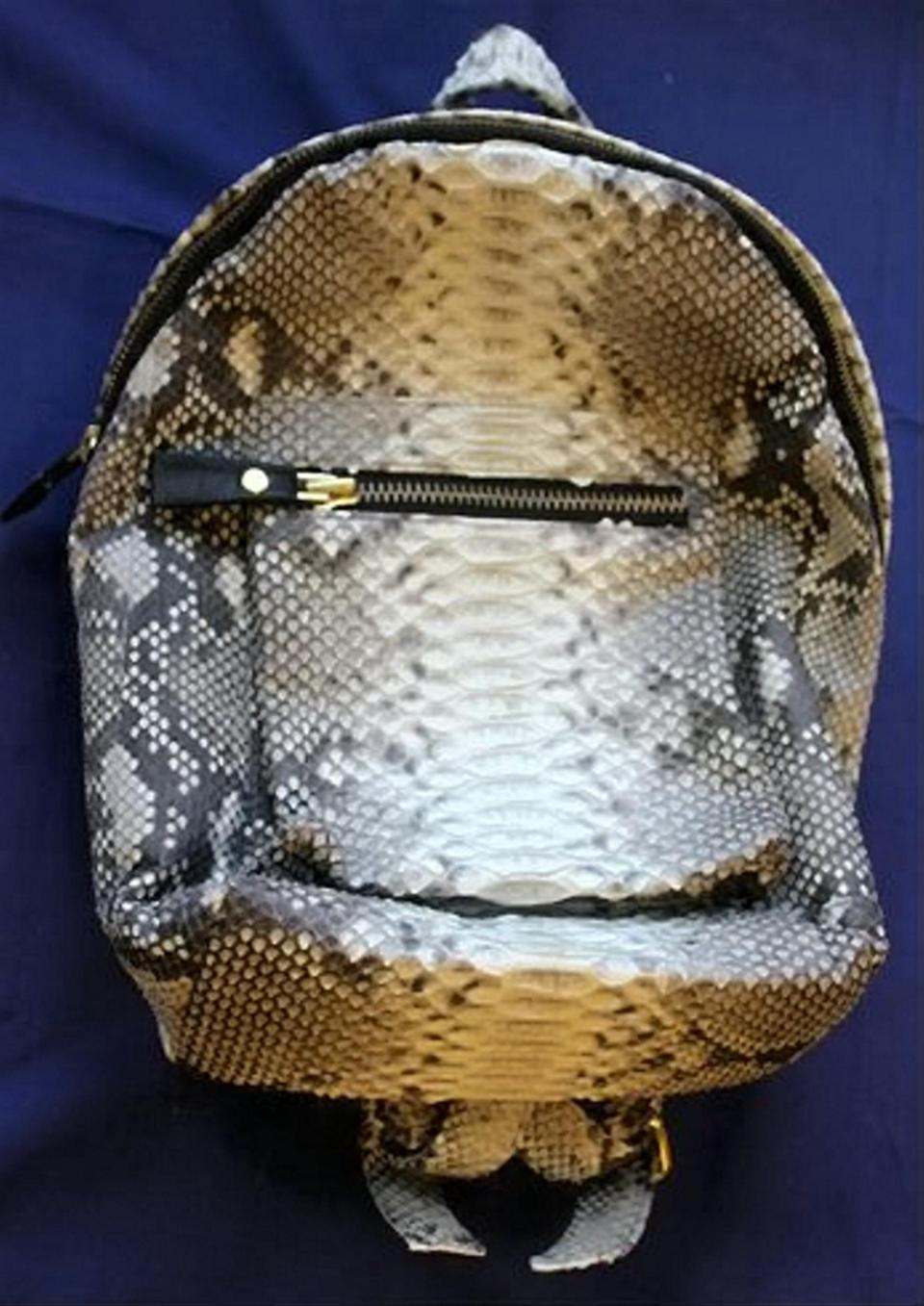 Bag made of python skin
