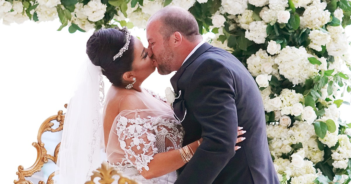 Mercedes Javid and her husband at their wedding