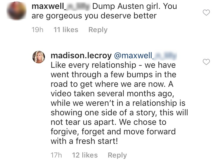 Madison wrote in a response of Video