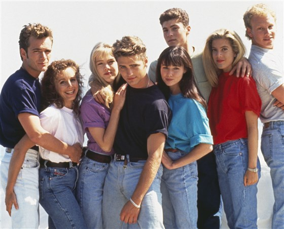 Luke Perry with Beverly Hills 90210's cast