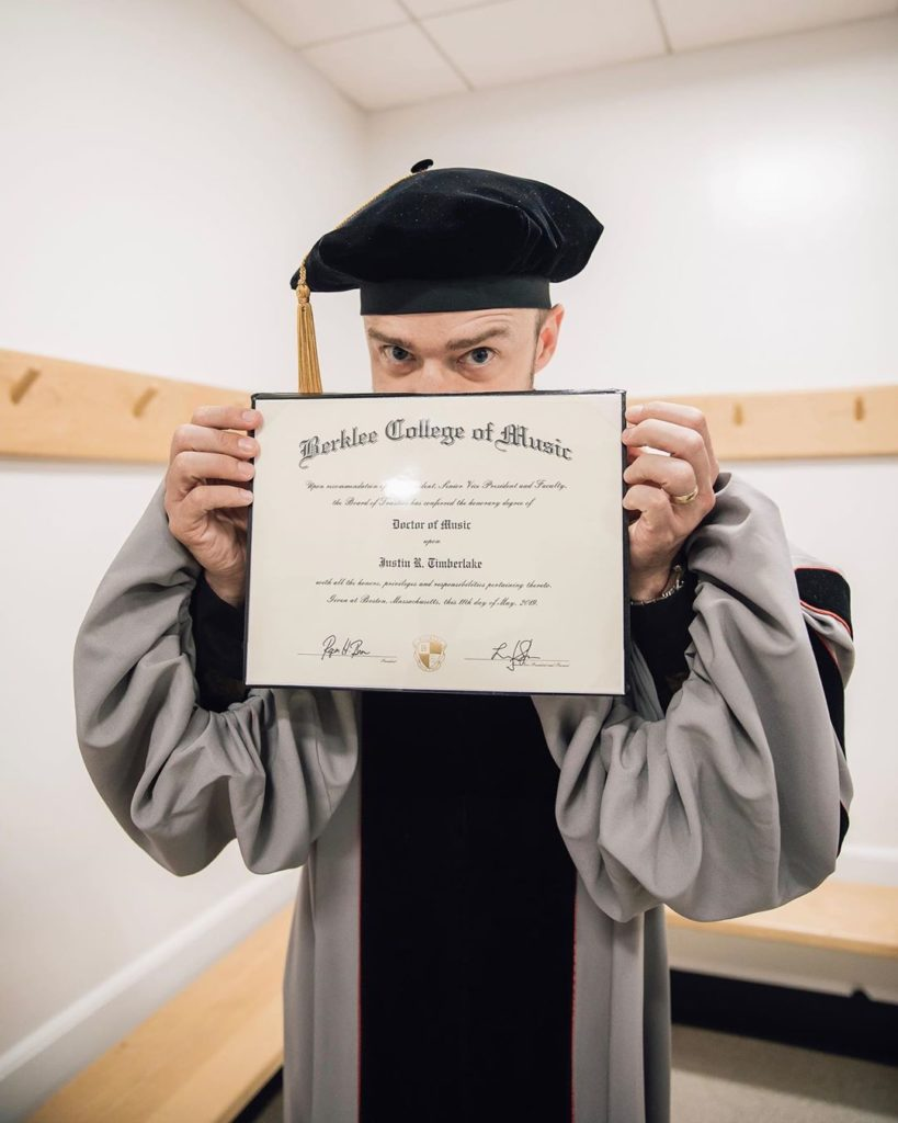 Justin Timberlake was honored with a doctorate from Berklee College of Music