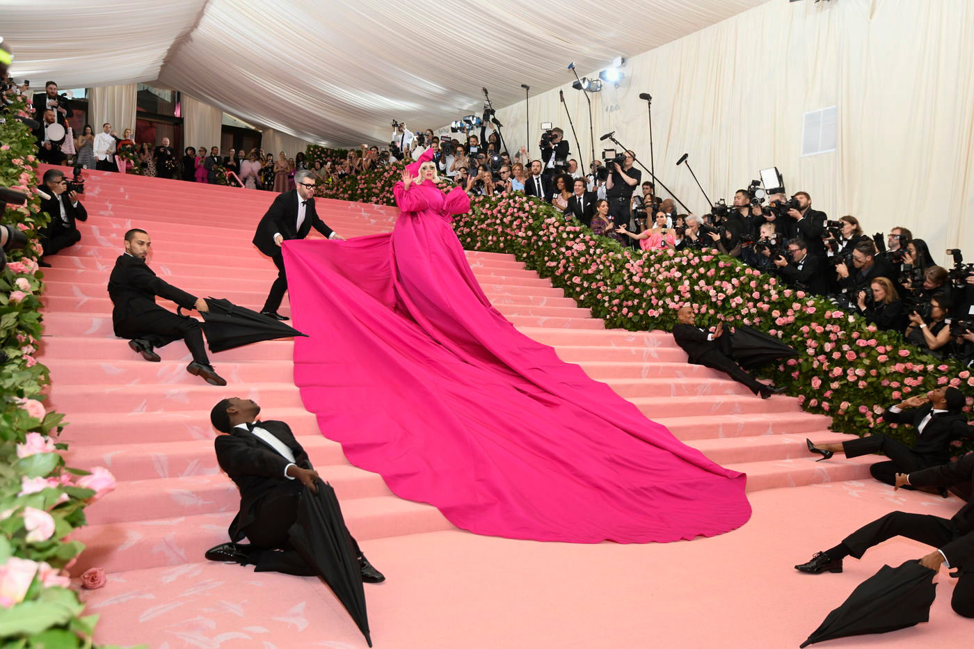 Lady Gaga's giant pink cape gown